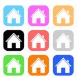 colored house icons vector image vector image