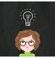 Cute cartoon smart girl and bulb lamp idea vector image