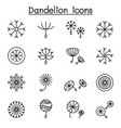 dandelions icon set in thin line style vector image vector image