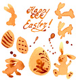 Easter Set of Labels Rabbits and Eggs vector image vector image