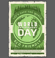 ecology world environment day retro poster vector image