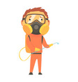 exterminator in orange protection uniform and face vector image vector image