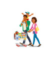 family shopping in grocery shop cartoon vector image