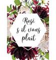 floral card design pink rose burgundy dahlia vector image vector image