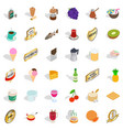 food and drink icons set isometric style vector image vector image