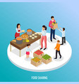 food sharing isometric background vector image vector image