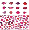 hand drawn cartoon lips kisses Set of vector image vector image