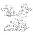 hand drawn cute baby set vector image vector image