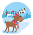happy holidays greeting card with cute deer in vector image