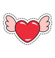 heart shaped sticker with wings for valentines day vector image vector image