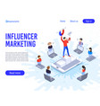influencer marketing influence on b2c clients vector image vector image