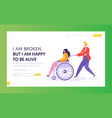 man pushing disabled girl sitting in wheelchair vector image