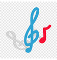 music key and note isometric icon vector image vector image