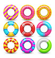 rubber swimming ring isolated set vector image vector image