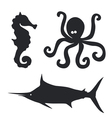 sea horse octopus and big fish set vector image