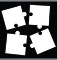 separate white puzzle pieces - black background vector image vector image