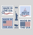 set made in usa postage stamps vector image