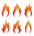 six red flame icon set isolated on a white vector image