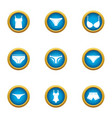 undies icons set flat style vector image vector image