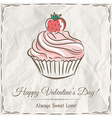 valentine card with strawberry cupcake vector image vector image