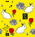 very cute seamless pattern with white rabbits and vector image