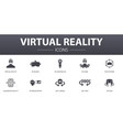 virtual reality simple concept icons set contains vector image