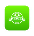vr gamer icon green vector image