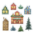 watercolor set with christmas houses vector image
