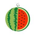 watermelon whole ripe green stem icon slice cut vector image