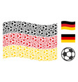 waving german flag pattern of football ball icons vector image