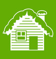 wooden house covered with snow icon green vector image vector image