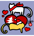 xmas cats in love vector image vector image