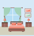 bedroom interior with furniture bedside table lamp vector image