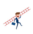 businessman holding stair to target and success vector image
