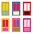 door in colorful design set on white vector image