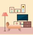 television room furniture sofa floor lamp cabinet vector image