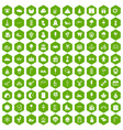 100 childrens parties icons hexagon green vector image vector image