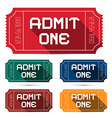 Admit One Tickets Set vector image vector image