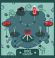 bbq color isometric concept icons vector image vector image