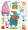bear mom dad kids cartoon family vector image