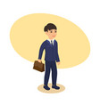 boy in suit with briefcase goes to school vector image