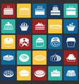 cake icons set on color squares background for vector image vector image