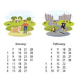 calendar 2018 january february vector image vector image