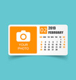 calendar february 2019 year in simple style vector image vector image
