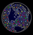 carcass mesh map of global world with light vector image