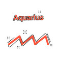 cartoon aquarius zodiac icon in comic style vector image
