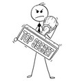cartoon of businessman holding big hand rubber vector image
