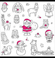 christmas animals and characters set hand drawn vector image