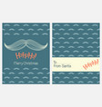 christmas greeting cards with santas mustache vector image vector image