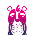 color silhouette adorable and happy bear wild vector image vector image